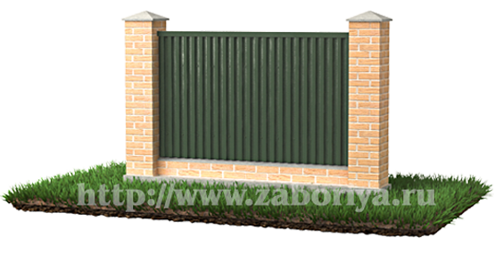 Кирпичный забор и ленточный фундамент.