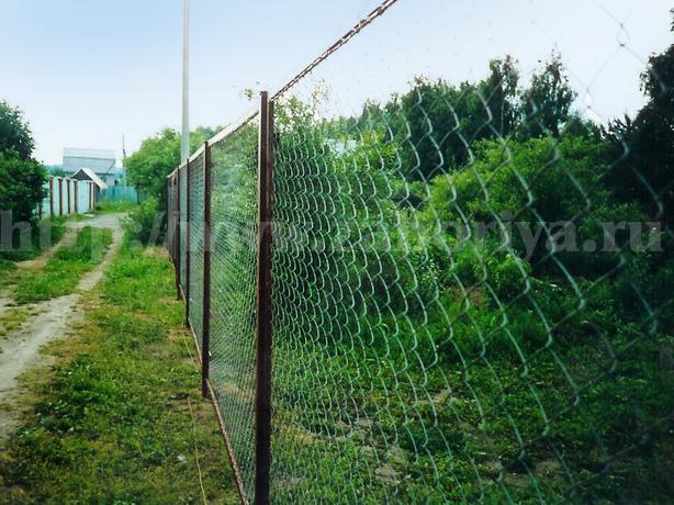 Секционные заборы из сетки-рабицы весной