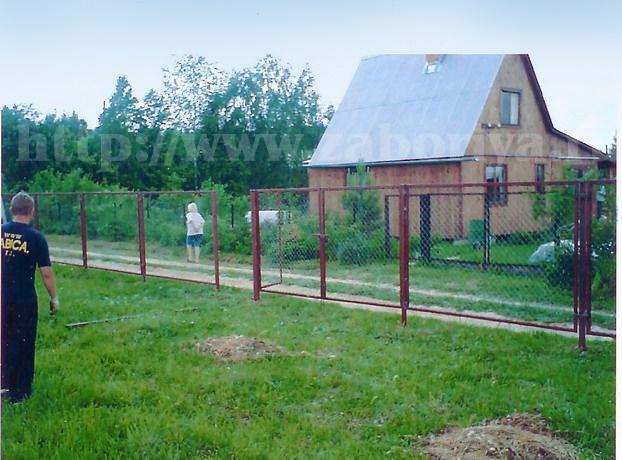 Секционные заборы из сетки-рабицы на даче